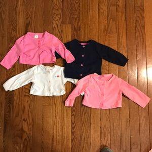 Bundle of 4 baby girls 6 month cardigans Carter's